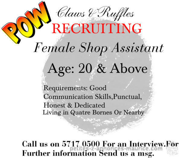 Recruiting shop assistant in Quatre Bornes