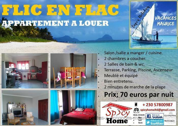 Appartement a Louer Flic en flac, 70 euros par nuit