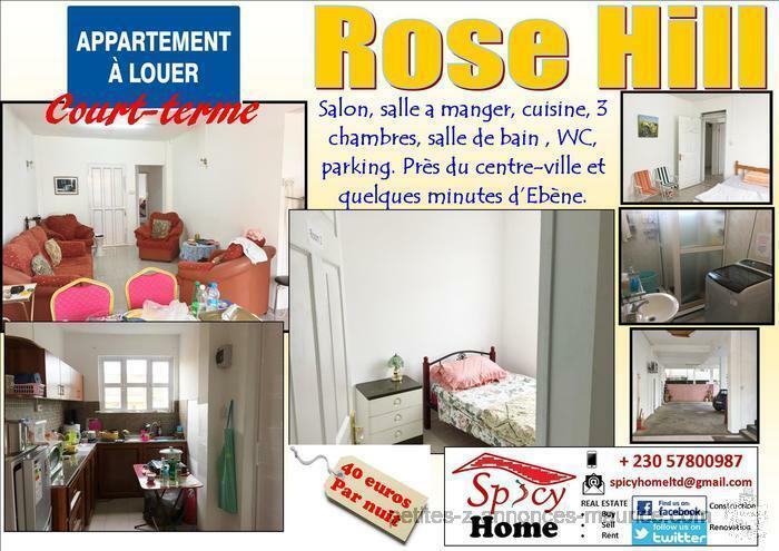 Appartement a Louer Rose Hill (Minimum une semaine ), Pres du Centre Ville