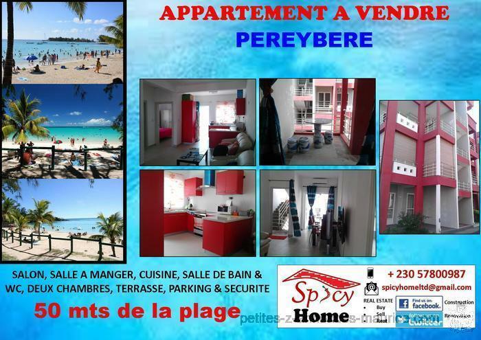 Appartement a Vendre Pereybere ,a 50 mts de la plage publique
