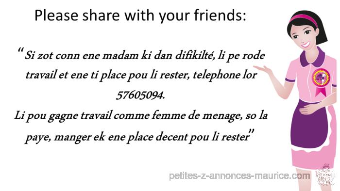 Cherche emploi femme de menage chez etranger au maroc