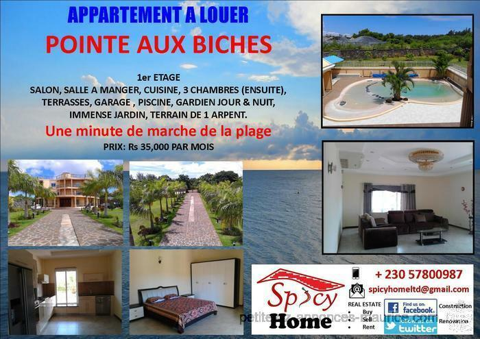 Grand Appartement a Louer Pointe aux Biches