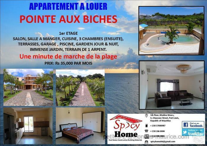 Grand et Luxueux Appartement a Louer Pointe aux Biches