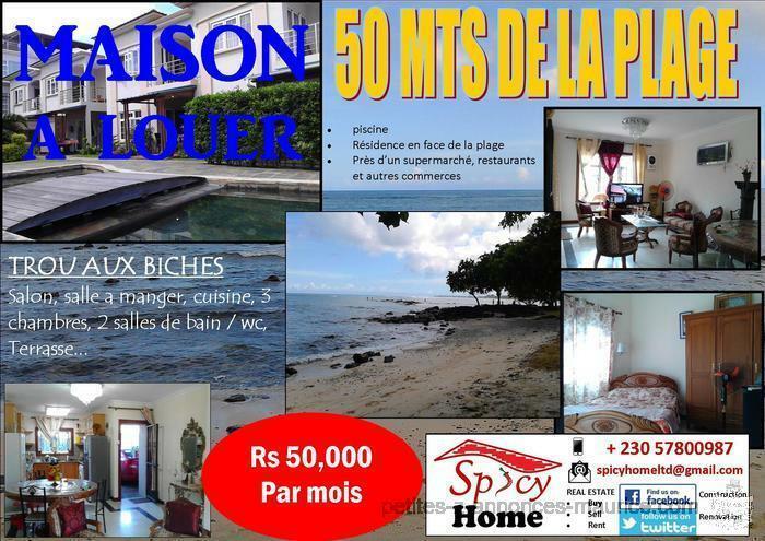 Maison a Louer ,50 mts de la plage, Trou aux Biches