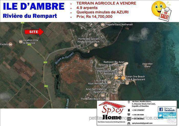 Terrain Agricole a Vendre ILE D'Ambre , Riviere du Rempart
