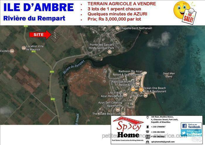 Terrain Agricole a Vendre ILE D'Ambre , Riviere du Rempart , Quelques de minutes de Azuri