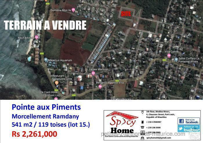 Terrain a Vendre Pointe aux Piments, Morcellement Ramdany , LOT 15