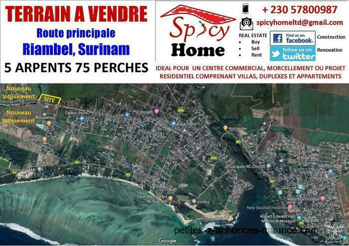 Terrain a Vendre Route Principale Riambel, Surinam