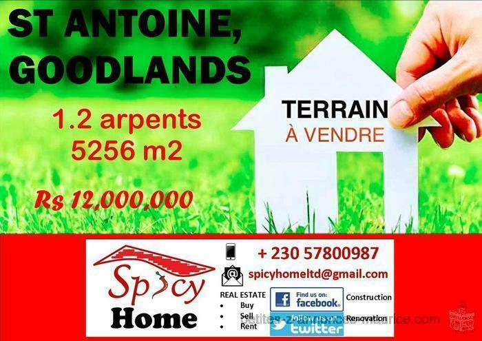 Terrain de 1.2 Arpent a Vendre St Antoine , Goodlands