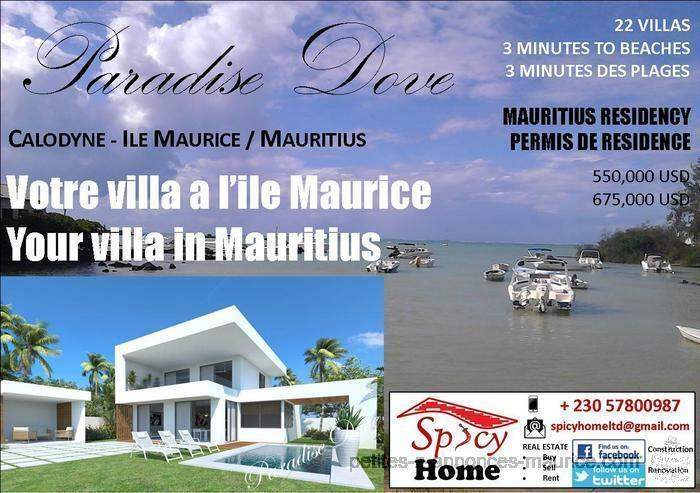 Villas a Vendre, PARADISE DOVE , Calodyne